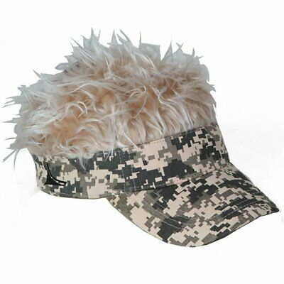 Flair Hair Men's Visor Hat Cap With Grey Silver Hair Camo Bald Head Warm Balding (Bald Cap With Hair)