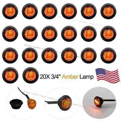20 New 34 Amber LED Clearance Marker Bullet Truck Trailer Lights Lamp US Stock