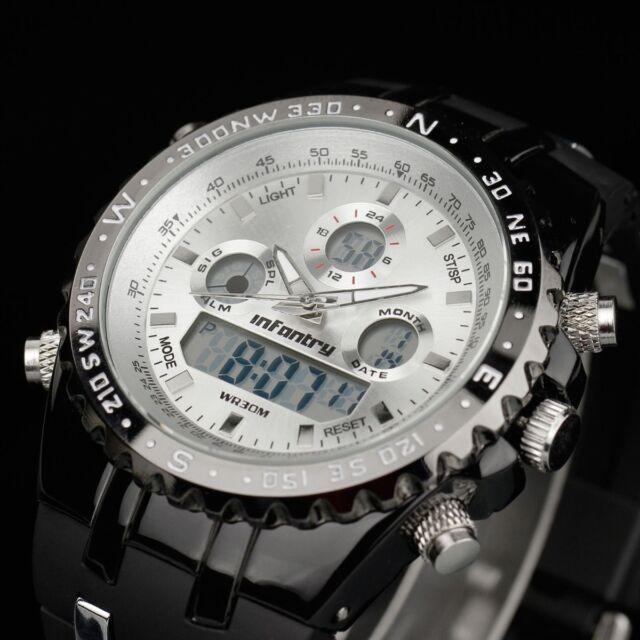 INFANTRY Herren Quarzuhr Digitaluhr Armbanduhr Uhr Chronograph LED Pilotenuhr
