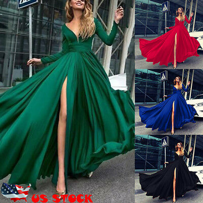 US Women V Neck Long Sleeve Maxi Dress Split Evening Cocktail Party Dresses