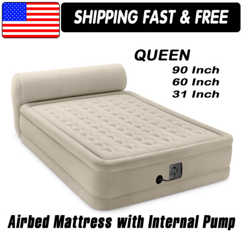 """Intex Queen 18"""" Dura-Beam Ultra Plush Headboard Airbed Mattress, Internal Pump"""