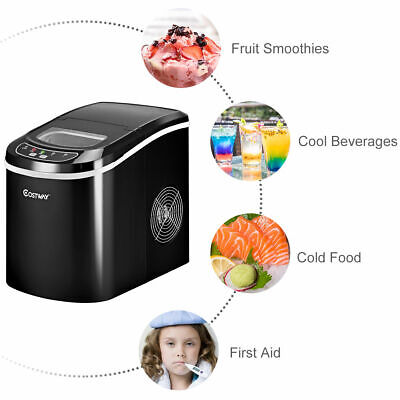 Automatic Electric Ice Cube Maker Machine Counter Top Cocktails Drink 2.2L Black