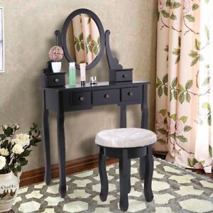 Makeup Vanity Table Set W Stool Bedroom Dressing Jewelry Organizer Desk