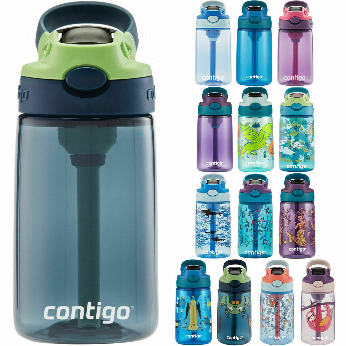 Contigo Kids Water Bottle 14 oz Auto Spout Straw with Easy C