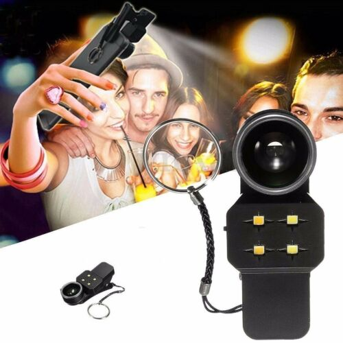 4 in 1 Fisheye Wide Angle Macro Lens Phone Soft Selfie LED Flash Fill Light Cell Phone Accessories