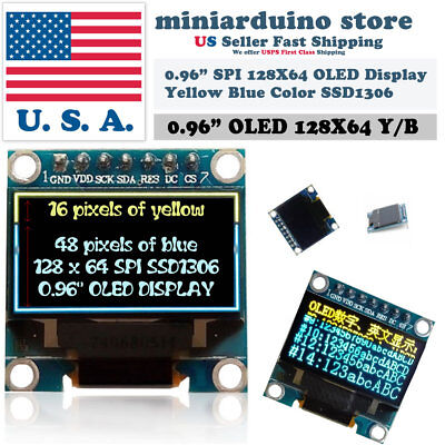 0.96 Spi 128x64 Led Oled Lcd Yellow Blue Color Display Arduino Ssd1306 7 Pin