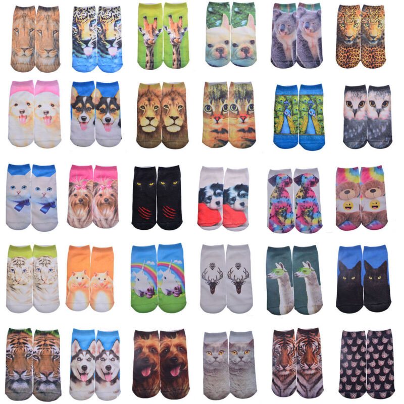 Unisex 3D Print Cartoon Animals Casual Fashion Short Low Cut Ankle Cotton Socks