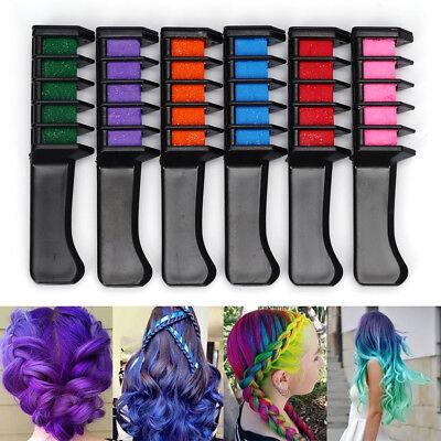 6 x Color Hair Highlight Chalk Dye Temporary Comb DIY Disposable Kit Halloween - Halloween Hair Dye
