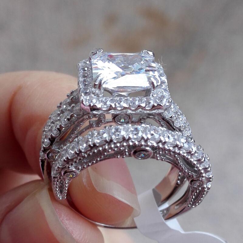 Newshe Wedding Engagement Ring Set 3.5ct Princess Cz 925 Sterling Silver Sz 5-12