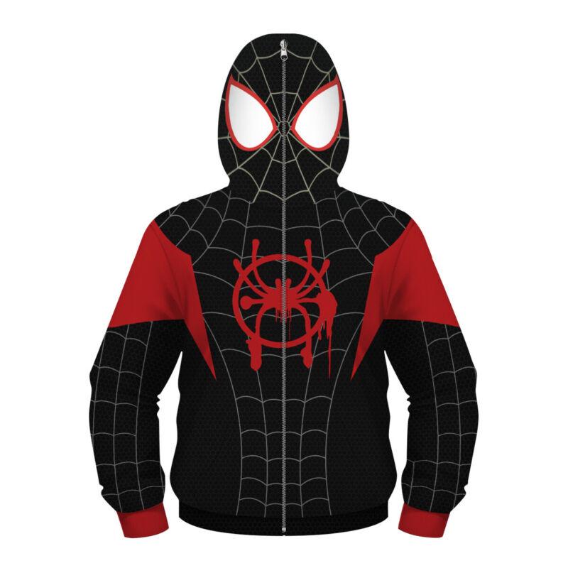 Kids Spider-Man Miles Morales Hoodie Coat Spiderman Sweatshirt Cosplay Costume