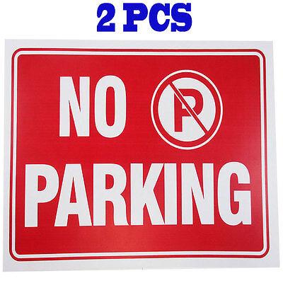 2 Pcs  No Parking 9 X 12 Red White Flexible Plastic Sign Bazic S-14
