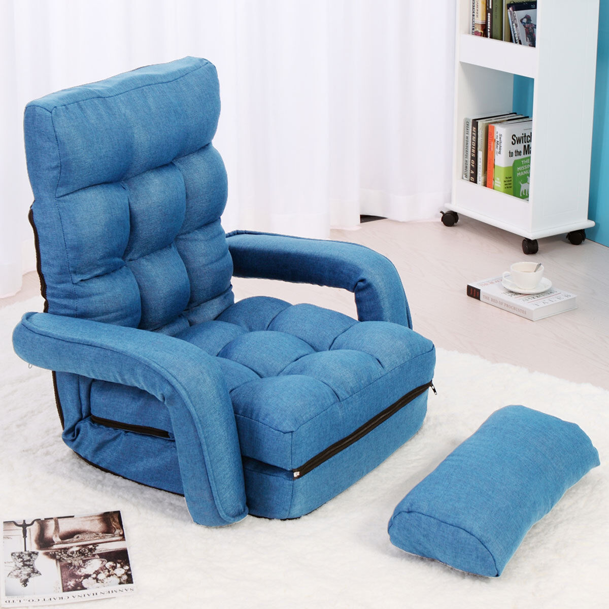 Adjustable Folding Lazy Sofa Floor Chair Sofa Lounger Bed w/