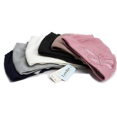 Women Winter Beanie Cat Ear  Crochet Pearls Butterfly Diamond Knit Cap Hat A406 ()