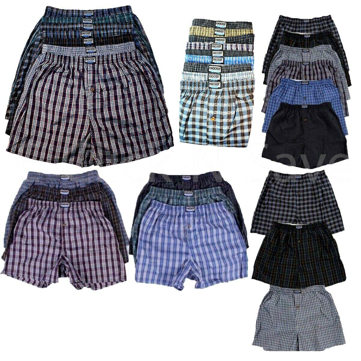 3 6 12 PACK Men Knocker Plaid Boxer Shorts Underwear Lot Tru