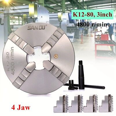 4 Jaw K12-80 Lathe Chuck 3 Self Centering Hardened Steel Reversible Jaw 80mm