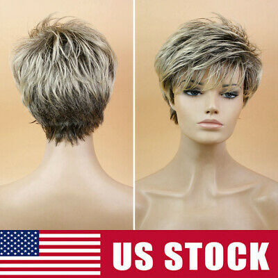 Lady Boy Cut Short Layered Pixie Wigs Straight Full Syntheti