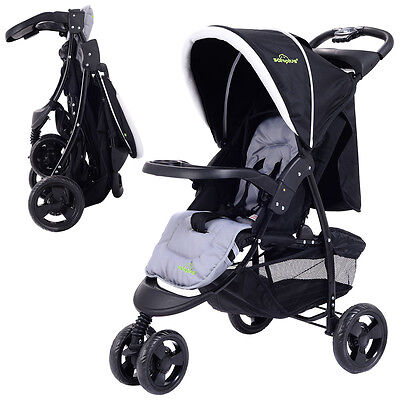 Купить Goplus - 3 Wheel Foldable Baby Kids Travel Stroller Pushchair Buggy Newborn Infant Black