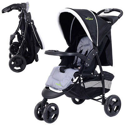 Купить Goplus - 3 Wheel Foldable Baby Kids Travel Stroller Pushchair Buggy Newborn Infant Black