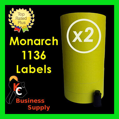 Yellow Labels For Monarch 1136 Two Line Price Gun Labeler 2 Sleeves 16 Rolls