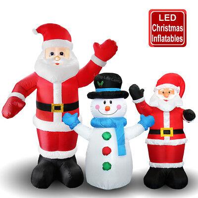Outdoor Christmas Figures Self Inflating Santa Claus & Snowman LED Lit UK Plug ](Halloween Figures Uk)