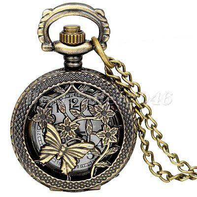 Retro Vintage Butterfly Flower Quartz Necklace Pendant Pocket Watch +Gift Bag