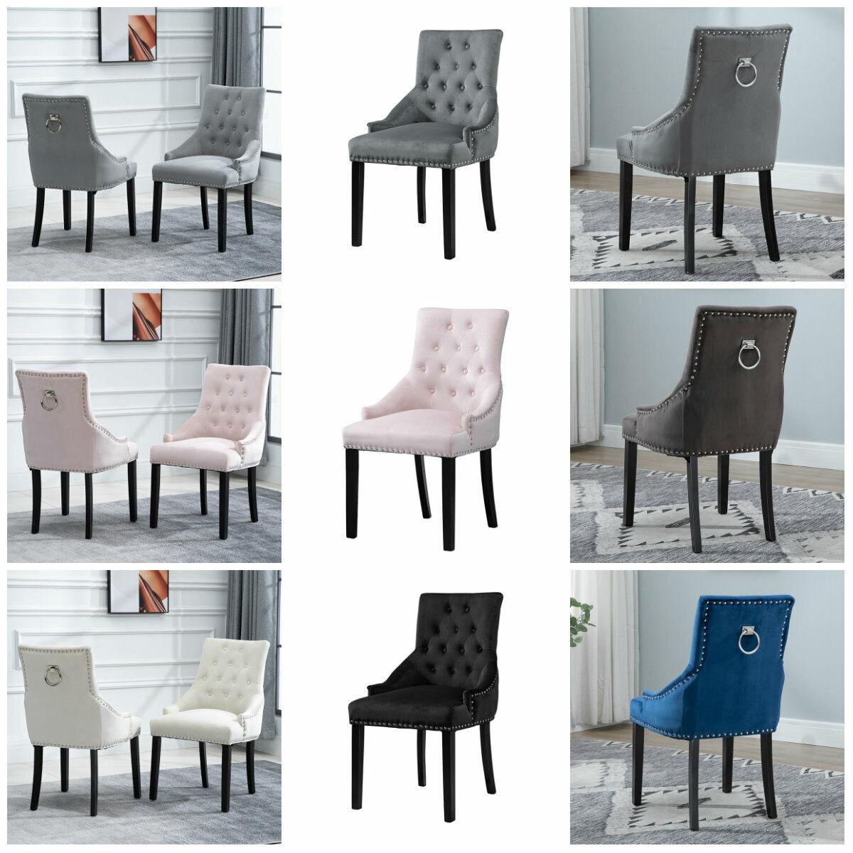 2 4 6pcs Velvet Dining Chairs Ring Knocker Rivet Accent