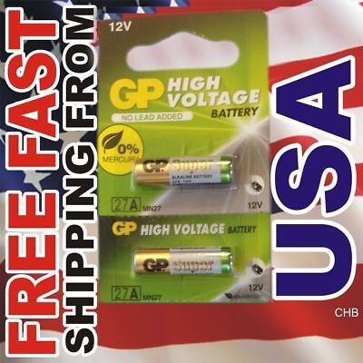 2 pc GP 27A MN27 GP27A L828 A27 12v battery NEW Expiration date 2021