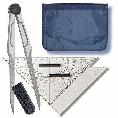 Navigationsbesteck - Marinezirkel, zwei Dreiecke, Tasche # Navigation Ausbildung