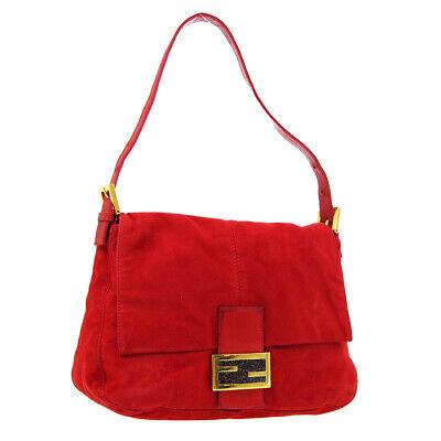 FENDI Mamma Baguette Hand Bag Purse Red Suede Leather 2308-26325-009 AK43744