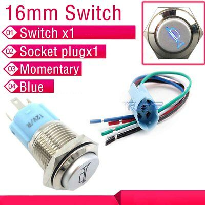 12v 16mm Blue Led Lighted Momentary Metal Push Button Horn Switch Socket Plug