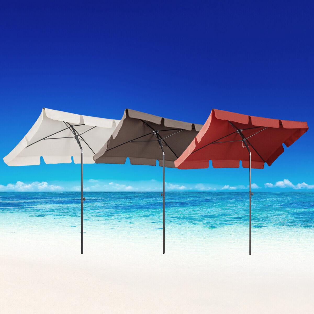 Sonnenschirm Rechteckig Balkonschirm Strandschirm Marktschirm knickbar 3 Farbe
