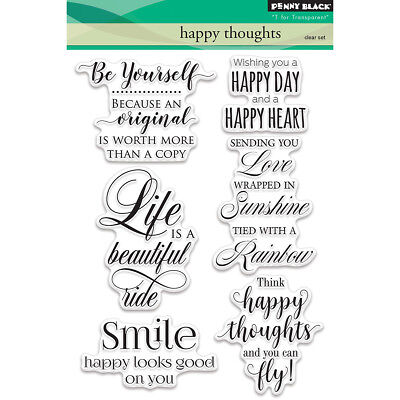 Sayings Quote Happy Thoughts Penny Black Clear Rubber Stamp Set 5