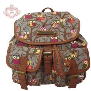 Anna Smith Designer Owl Print/Strip Print/ Multi-Food Print Rucksack/Backpack