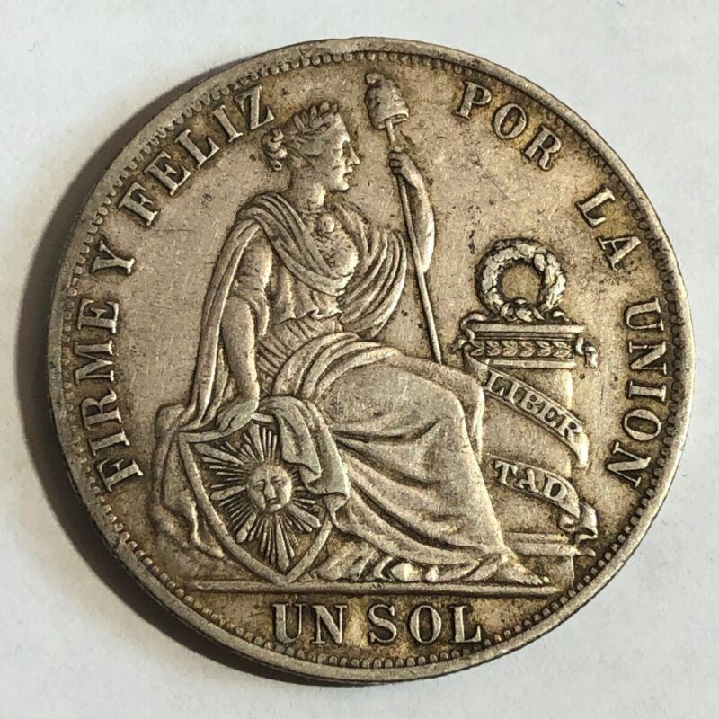1888-TF Peru UN SOL , XF, large crown-size silver coin. KM196.24 #ud1