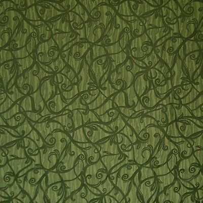 Green Floral Vine - Large Floral Vine Solo Emerald Green Upholstery Fabric 2137621