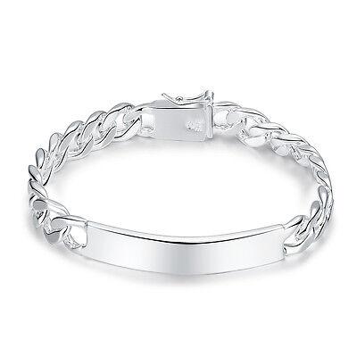 Herrenarmband Silberarmband Silber Armband Kette 21 cm Panzerkette mit Platte