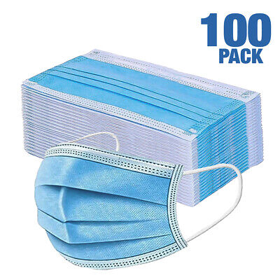 100 Pcs Face Mask Non-surgical Disposable 3-ply Earloop Mouth Cover