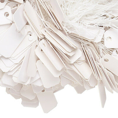 Lot Of 100 Small 1 X 12 Inch White Paper Jewelry Price Label Tags With String