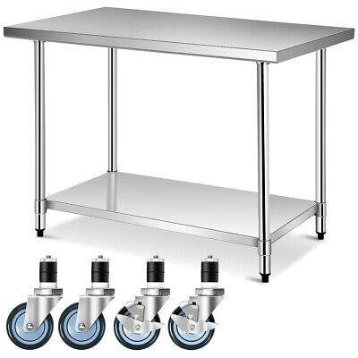 30 X 48 Stainless Steel Commercial Kitchen Nsf Prep Work Table W 4 Casters