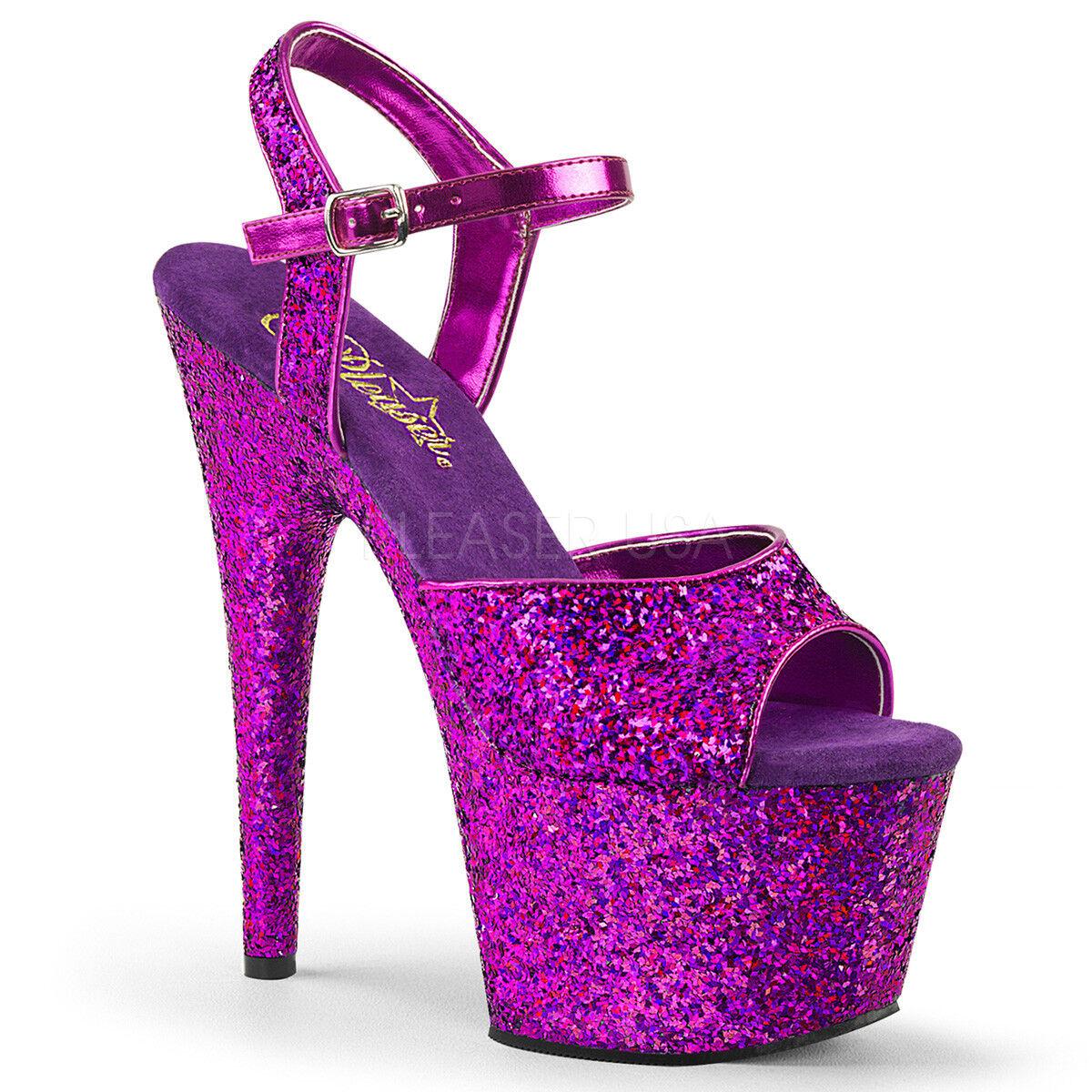 "7"" Purple Glitter Mermaid Burlesque Dancer Stripper Heels Pleaser Shoe Adore-710"