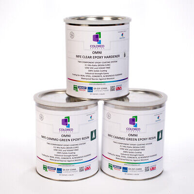Green Epoxy Resin 100 Solids For Garage Floor Plywood Concrete. 3 Gallon Kit