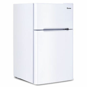 Costway 2-Door Apartment Size Refrigerator 3.2 Cu Ft. Unit Stainless ...