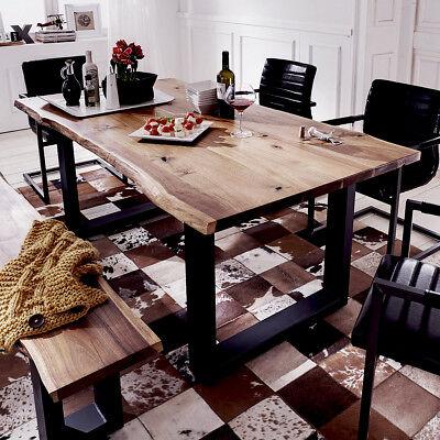 Esstisch Queens Tisch Esszimmer Akazie massiv Natur geölt und Metall 180x90