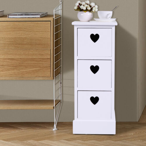 3 Drawers Nightstand Storage Solid Wood End Table Bedroom Side Bedside White