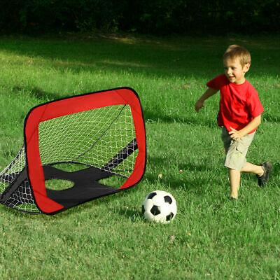 Portable 2 in 1 Pop Up Kids Soccer Goal Net Soccer Target Sports w Carry Bag