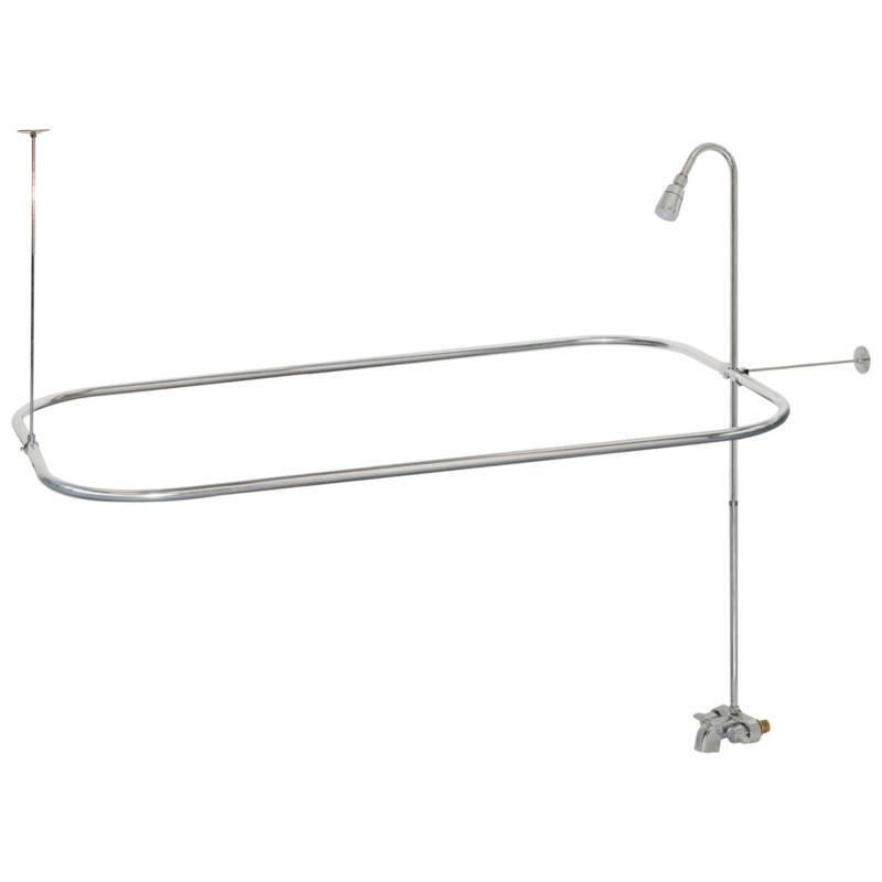 Chrome Clawfoot Tub Shower  Faucet W/Curtain Rod