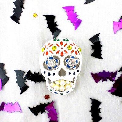 Napier Sugar Skull Brooch Pin NEW Day Of The Dead  Silver Tone Enamel Halloween ](Sugar Skull Halloween Look)