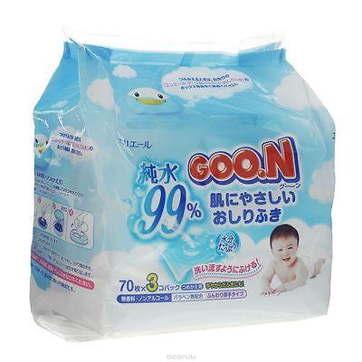 GOO.N Baby Feuchttücher Nachfüllpack 3x70 Tücher Premium Qualität Made in Japan