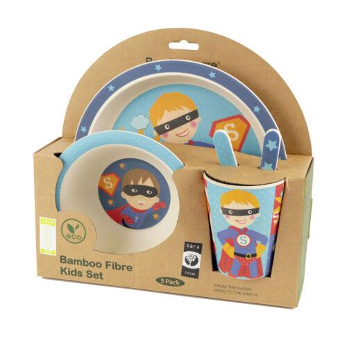 Sara Cucina BambooWare Eco Bamboo Fiber Kids Dinnerware Set, Super Hero, 5 Piece