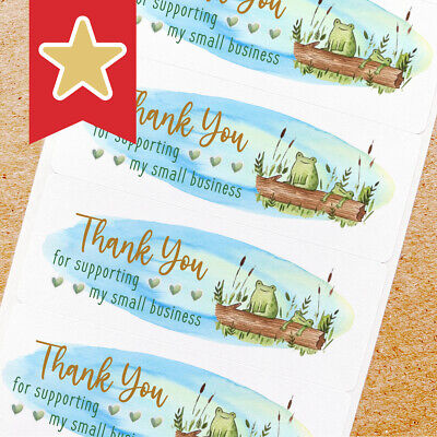 Thank You Labels Stickers For Online Shop Sellers 100ct - 2 Frogs